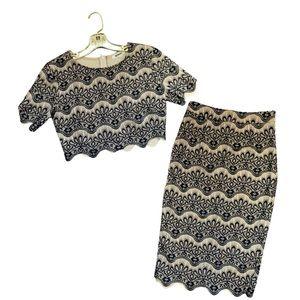 Crochet Lace Set Pencil Skirt